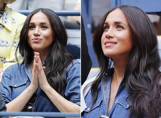 Bà mẹ một con với môt loạt biểu cảm từ hồi hộp lo lắng đến vui mừng sau mỗi pha đánh của bạn thân. Tuy nhiên, dù được Meghan cổ vũ nhiệt tình, Serena William - từng là tay vợt số một thế giới, vẫn không giành chiến thắng. Cô thua đậm đối thủ người Canada với tỷ số 3-6, 5-7. Vàitiếng sau khi trận đấu kết thúc, Meghan lên máy bay về London. Ảnh: EPA.