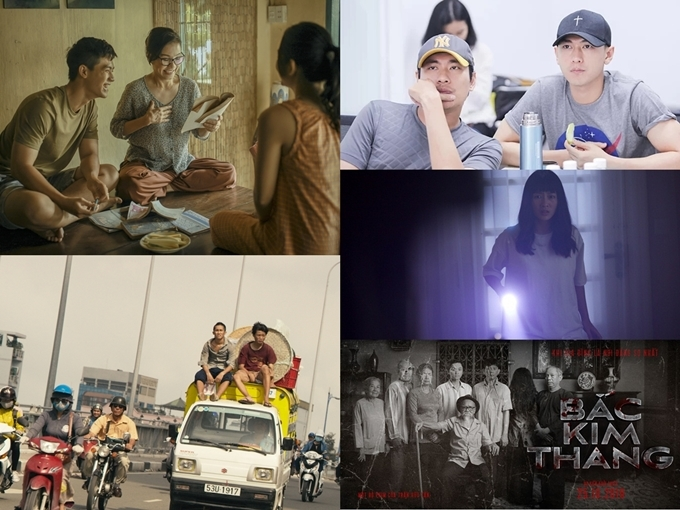 5 phim Việt chiếu tại LHP Busan (trên xuống dưới, trái qua phải): Thưa mẹ con đi, Ròm, Anh trai yêu quái, Bí mật của gió, Bắc kim thang.