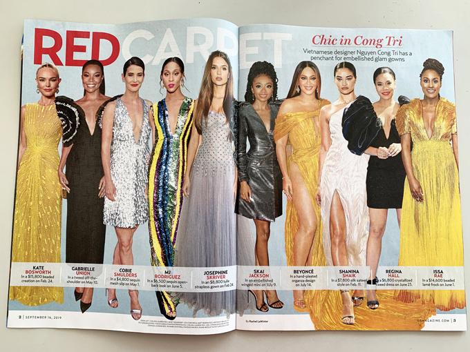 Hình ảnh các nghệ sĩ nổi tiếng trong trang phục Công Trí được đăng trên tạp chí USMagazine.
