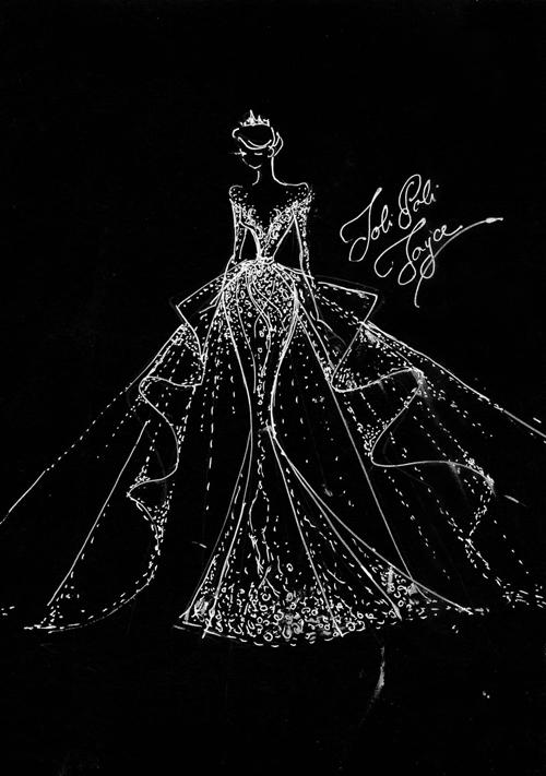 Phác thảo của bộ đầm đuôi cá. Mẫu váy này và váy đầu tiên mà cô dâu diện có tổng giá trị lên tới 700 triệu đồng.