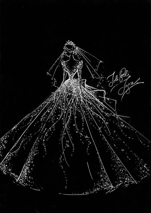 Phác thảo của váy cưới chínhcủa cô dâu Minh Anh.