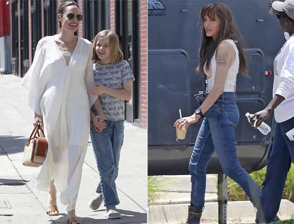 Jolie giản dị bên con và hình ảnh khác của cô trên phim trường hồi tháng 7.