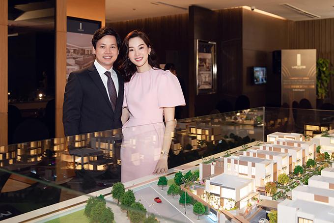 Hoa hậu Đặng Thu Thảo đến ủng hộ ông xã Trung Tín trong buổi giới thiệu dự án tâm huyết.