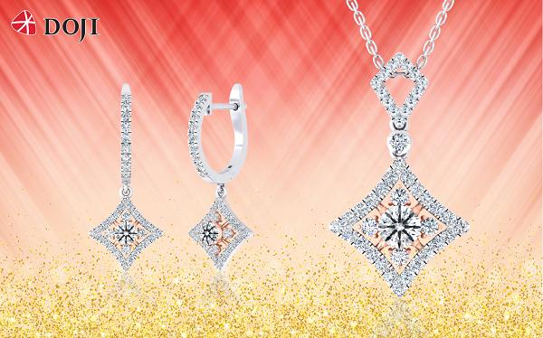 Trang sức kim cương của DOJI được thiết kế từ những viênchất lượng được kiểm định quốc tế, tuyển chọn theo các tiêu chuẩn: trọng lượng, độ tinh khiết, màu sắc hay giác cắt...