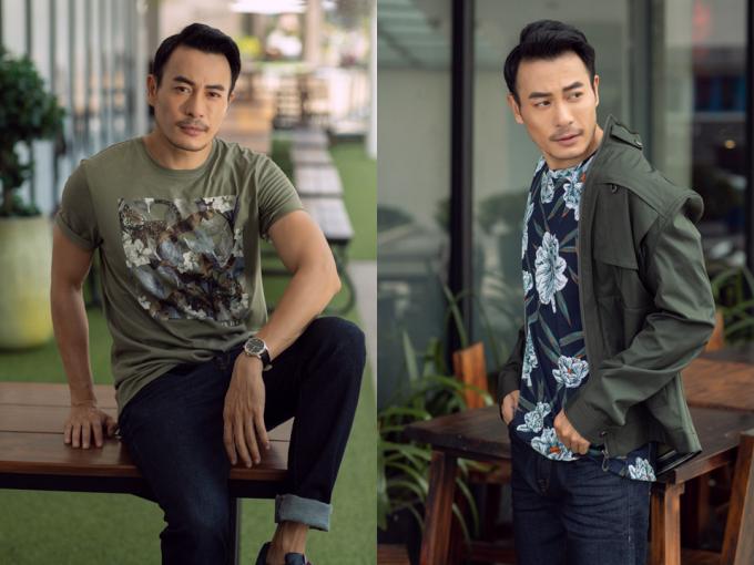 Trong khi đó, các chàng trai như Trương Thanh Long diện áo có phông hoặc áo khoác ngoài màu sắc ton-sur-ton với trang phục của bạn nữ.