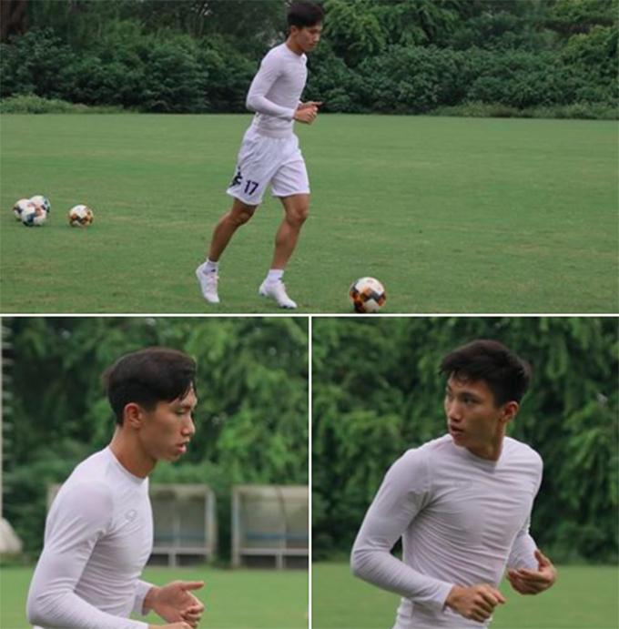 Văn Hậu tập luyện cùng CLB Hà Nội chiều 10/9. Do đã là cầu thủ của Heerenveen, anh không mặc trang phục của Hà Nội mà mặc một bộ quần áo màu trắng ra sân tập. Ảnh: Hà Nội FC.