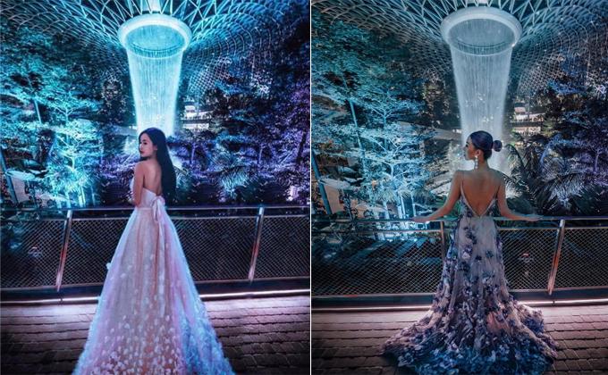 Khá nhiều hình ảnh bị phát hiện giống nhau như hai giọt nước, từ hậu cảnh, tone màu và cách tạo dáng. Bức ảnh được tài khoản Taramilktea (tên thật làTara Whiteman, sinh sống ở Sydney, Australia)đăng tải vào tháng 4 khi công viên trong nhà ở sân bay Jewel Changi (Singapore) vừa khai trương. Sau đó ít lâu, Mina Phạm cũng có một hình ảnh tương tự với background là thác nước huyền thoại.