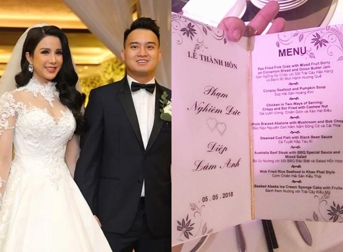 Thực đơn tiệc cưới của uyên ương gồm: 2 món khai vị, 5 món chính, 1 món tráng miệng.