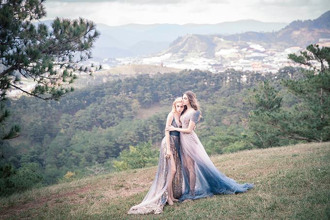 Phần đuôi váy không quá dài, thích hợp cho cô dâu hiện đại.
