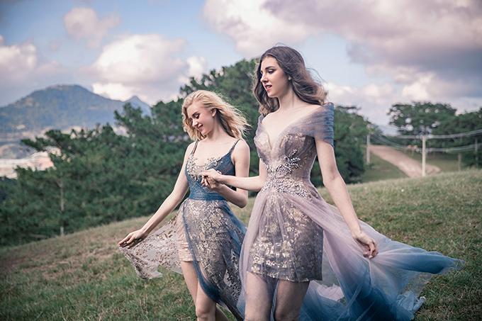 Cuối cùng NTK đem đến một cuộc dạo chơi sắc màu cho bộ sưu tập bằng các mẫu váy cưới ngắn ombre. Việc chuyển màu ombre của 2 gam màu tương phản khiến bộ cánh trở nên ấn tượng, thể hiện cá tính thích sự mới lạ của cô dâu.