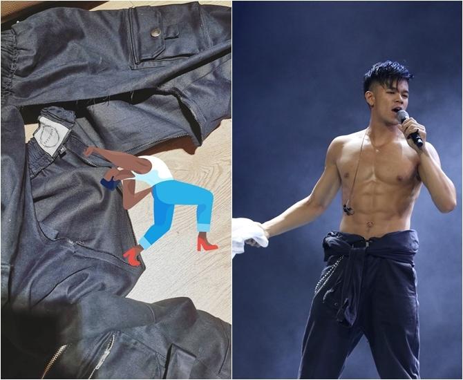 Trọng Hiếu chia sẻ ảnh quần bị rách sau buổi biểu diễn. Nam ca sĩ sở hữu body vạn người mê.