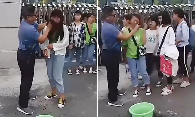 Các nữ sinh của trường Trung học số 3 huyện Tam Tuệ, tỉnh Quý Châu, Trung Quốc phải lau lớp trang điểm trước khi vào học. Ảnh: Asiawire.