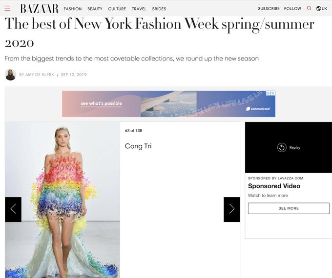Tạp chí Harper Bazaar Mỹ ưu ái gọi Công Trí là The New Red Carpet Favorite.Nhiều trang phục trong bộ sưu tập của anh đều lọt vào danh sách những thiết kế đẹp kế nổi bật của NYFW 2020.