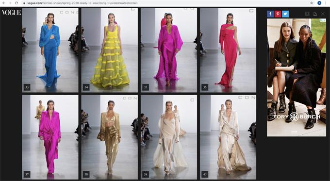 Sau bộ sưu tập Cuộc dạo chơi của những vì sao, đây là lần thứ hai các thiết kế của Công Trí xuất hiện trên Vogue - tạp chí thời trang danh giá nhất thế giới.