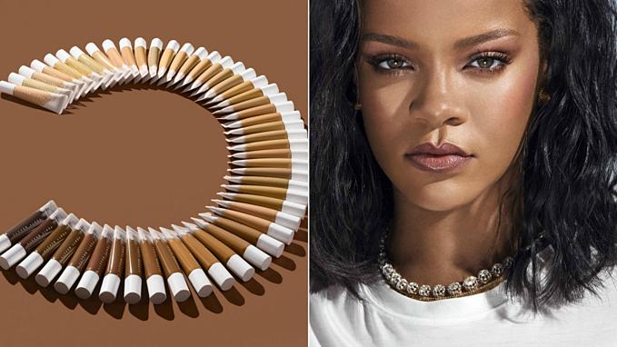 Feanty Beauty by Rihanna tạo sức hút về những bộ hình chụp màu trung tính. Năm nay Fenty Beauty đưa 50 màu kem nền, trong khi trước đó các hãng chỉcho ra đến 40 tông nền.