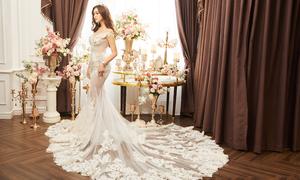 Á hậu Tường San mặc váy cưới ren đính đá