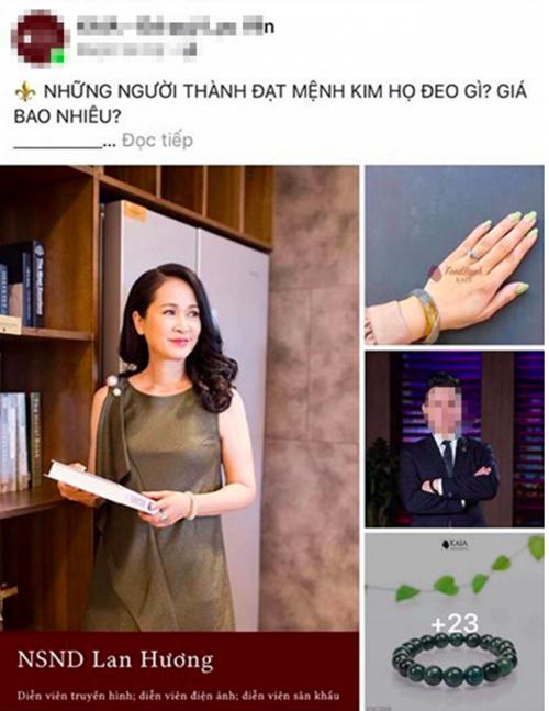 NSND Lan Hương bị một nhãn hàng lợi dụng hình ảnh để quảng cáo bán vòng đá quý đeo tay.