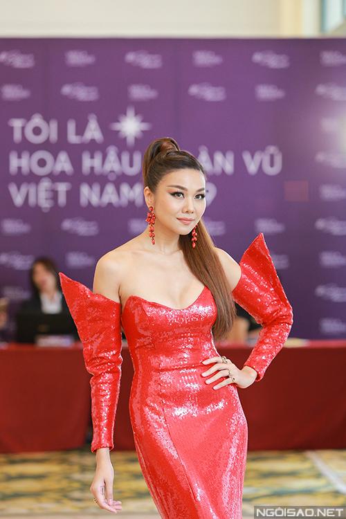 Siêu mẫu Thanh Hằng tại buổi sơ khảo phía Bắc Hoa hậu Hoàn vũ 2019 diễn ra sáng 16/9 tại Hà Nội. Ảnh: Đức Anh