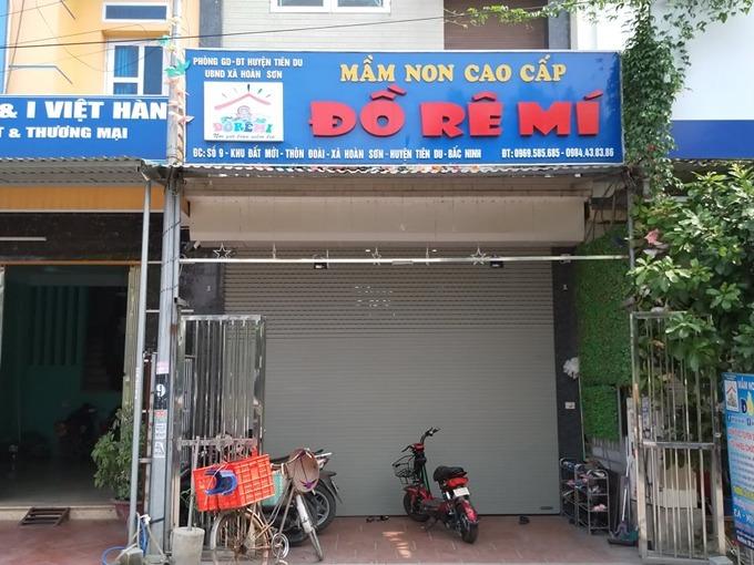 Cơ sở mầm non tư thục Đồ Rê Mí của vợ chồng ông Tỵở huyện Tiên Du, Bắc Ninh. Ảnh: Thúy Quỳnh.