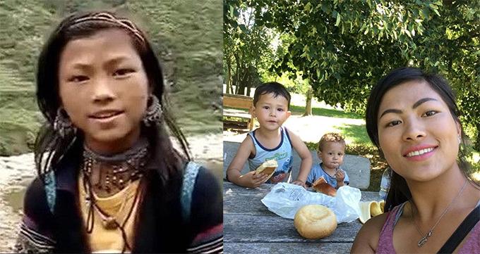Lò Thị Mai trong clip nổi tiếng năm 2015 (trái) và hiện tại bên hai con.