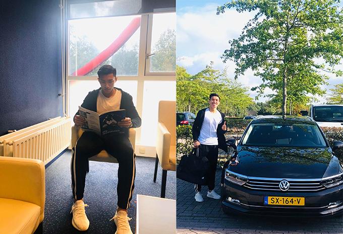Văn Hậu đọc tạp chí trong căn hộ của anh và chụp ảnh bên chiếc xe hơi do CLB Heerenveen cấp. Ảnh: FB.