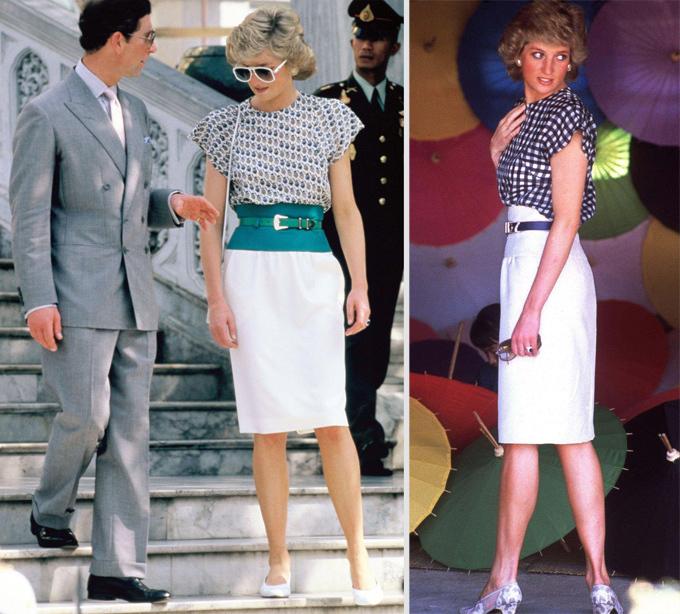 Trong khi đó, cách kết hợp áo vải mềm  cùng chân váy ôm nhẹ của bà mẹ hai con trong chuyến thăm Thái Lan năm 1988 là hình mẫu quen thuộc với chị em văn phòng hiện đại.
