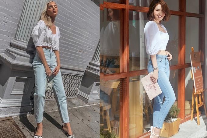 Mỹ nhân 29 tuổi tiếp tục học hỏi gu thời trang của siêu mẫu ngoại quốc. Cô phối áo croptop tay bồng cổ điển và quần jeans cho diện mạo trẻ trung, năng động. Để tạo sự khác biệt, Ngọc Trinh chọn sandals quai mảnh, trong khi Elsa Hosk thoải mái với dép bệt hiệu Chanel.