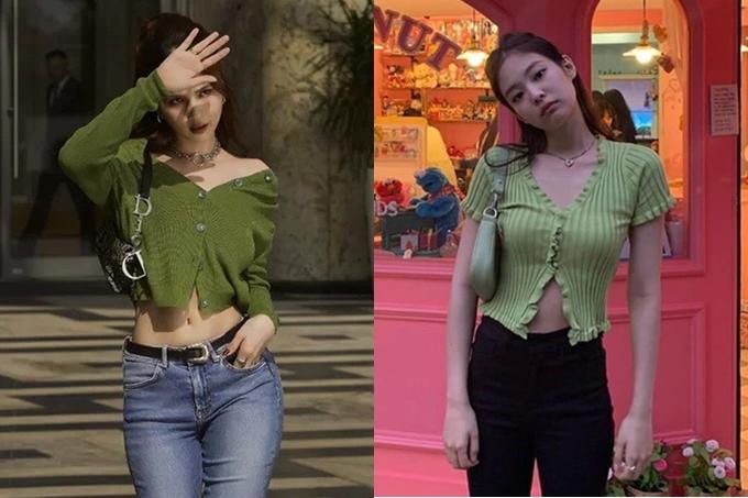 Ngọc Trinh khoe nét gợi cảm bằng cách gỡ một vài cúc áo trên chiếc áo len dáng croptop. Cách biến tấu của nữ hoàng nội y có phần giống hệt Jennie - thành viên nhóm nhạc Hàn Quốc Black Pink.