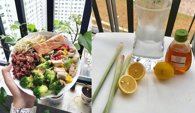 Thùy Linh ăn nhiều rau xanh, protein từ thịt, cá và thay cơm trắng bằng gạo lứt.