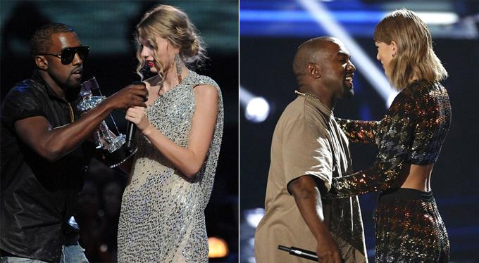 Kanye giật mic của Taylor năm 2009 (trái) nhưng cô đã bỏ qua và nhận lời trao giải cho rapper vào năm 2015 (phải).