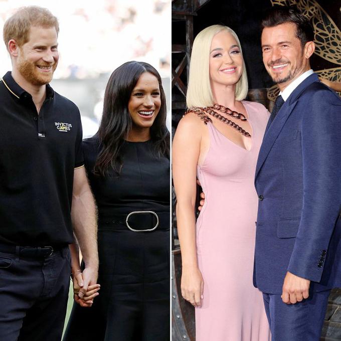 Hoàng tử Harry và vợ Meghan xem bóng rổ hồi tháng 6 (ảnh trái) và Misha cùng bạn trai Mikey Hess (ảnh phải).