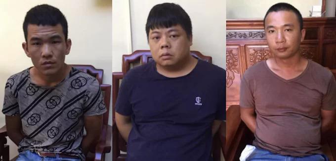 Yang Chang Cai (ở giữa) cùng hai đồng phạm. Ảnh: Anh Thư.