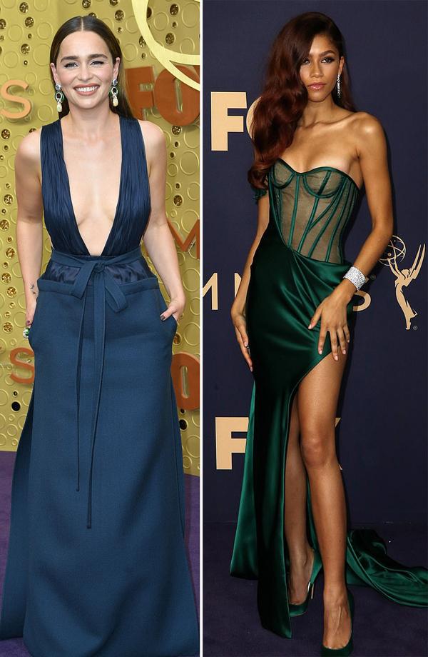 Lễ trao giải Emmy 2019 hội tụ nhiều ngôi sao truyền hình Mỹ như Emilia Clarke (trái), Zendaya.