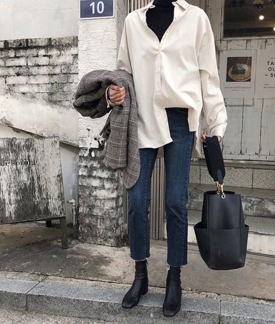 Sơ mi, jeans, áo blazer là những món đồ đơn giản và giúp phái đẹp phối đồ mùa thu trong tích tắc.