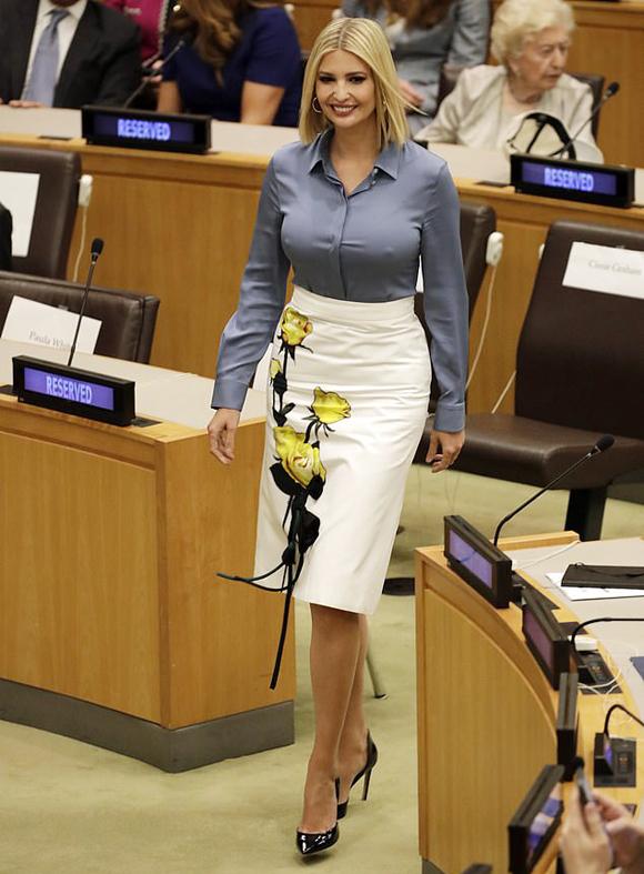 Ivanka Trump trong cuộc họp của Đại hội đồng Liên Hợp Quốc tại New York hôm 23/9. Ảnh: EPA.