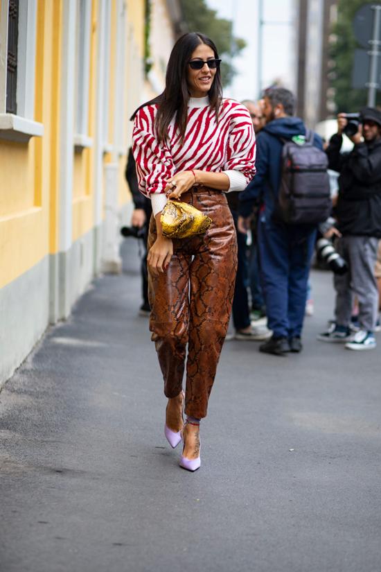 Xu hướng thời trang 2018/2019 chứng kiến sự trở lại đầy ấn tượng của hoạ tiết da động vật. Ở mùa thu 2019, trang phục hoạ tiết da báo đã giảm nhiệt nhưng những món đồ da trăn vẫn được yêu thích.