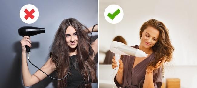 Nếu muốn tóc giảm gãy rụng, hạn chế dùng máy sấy làm khô tóc. Để tóc khô tự nhiên giúp tóc chắc khỏe hơn nhiều. Tuy nhiên nếu quá bận rộn, không có thời gian chờ khô tóc, chị em cần lưu ý cách dùng máy sấy sao cho đúng cách, hạn chế hư tổn cho tóc đến mức thấp nhất. Trước tiên, dùng khăn tắm làm khô tóc nhẹ nhàng. Dùng đầu thỏi dạng dẹt để sấy và tạo kiểu, cách này giúp giảm đi hơi nóng của máy sấy đáng kể. Bắt đầu sấy tóc từ chân đến ngọn, giảm nhiệt độ dần khi tóc bắt đầu khô. Nếu có thể, chị em nên trang bị loại máy sấy có cả chế độ sấy nóng và mát. Sau khi tóc khô hẳn, có thể dùng chế độ sấy mát làm tóc dịu lại.