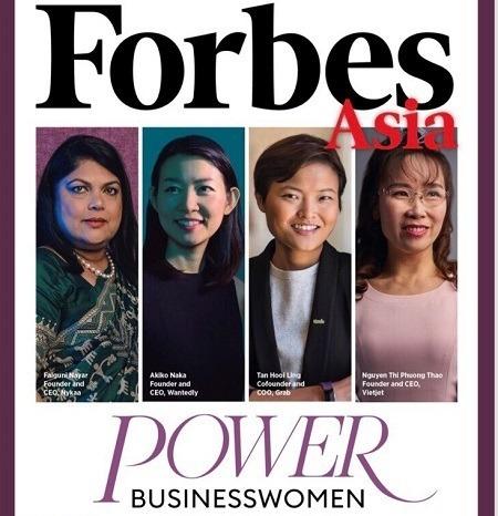Bà Nguyễn Thị Phương Thảo (bìa phải) xuất hiện trên trang bìa tạp chí Forbes Asia. Ảnh: Forbes.