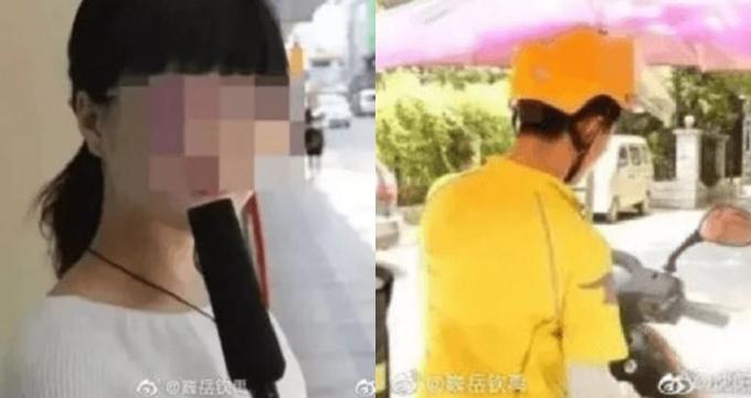 Su (trái) kiện người giao hàng (phải) vì giao bao cu su trễ. Ảnh: Weibo.
