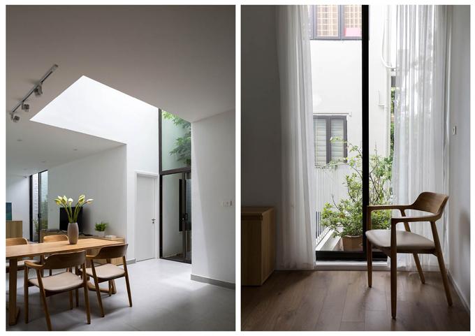 Nộithất đơn giản, sử dụng tông màu sáng, giúp ngôi nhà trở nên rộng rãi hơn.