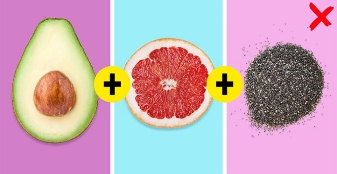 Bơ, bưởivà hạt chia: Bưởi có vị chua ngọt nhẹ. Nước ép bưởi giúp giảm cân, detox hiệu quả. Trong ẩm thực, salad bưởi với bơ vừa giúp cơ thể tăng chất xơ, giảm cân hiệu quả, hấp thụ nhiều khoáng chất, vitamin dồi dào. Hạt chia giúp tạo cảm giác no, giúp ích cho quá trình giảm cân đáng kể. Kết hợp 3 loại thực phẩm này với nhau vừa giúp bạn giảm cân, đẹp da, cơ thể khỏe mạnh lại có đủ năng lượng hoạt động cho cả ngày dài.