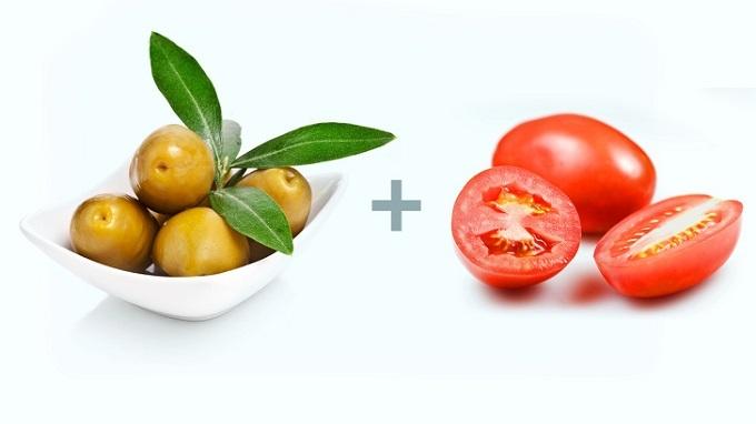 Quả ô liu và cà chua:
