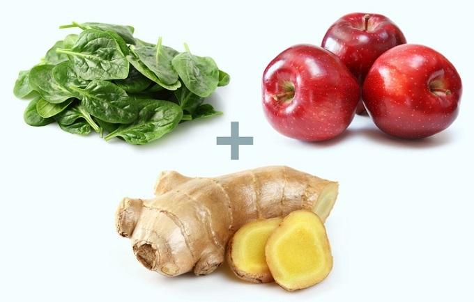 Gừng, táo và rau dền: Hàm lượng carb trong rau dền ít nhưng lại chứa lượng lớn chất xơ không hòa tan, tốt cho hệ tiêu hóa. Rau dền giàu vitamin C, K, axit folic, sắt, canxi... Lượng nitrat cao giúp điều hòa huyết áp. Táo chứa 85% là nước, năng lượng thấp và ít calo, thích hợp cho người đang giảm cân. Táo và rau dền giúp tăng chất xơ đáng kể cho cơ thể, giúp kiểm soát cân nặng tốt. Gừng có nhiều gingerol,chất dinh dưỡng có đặc tính chống viêm và chống oxy hóamạnh. Gừng giúptăng tốc độ làm rỗng dạ dày, giảm các triệu chứng khó tiêu