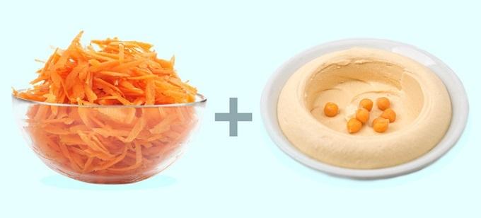 Cà rốt và bơmè (Tahini): Cà rốt được xem là loại rau củ chứa nhiều dưỡng chất tốt cho sức khỏe. Trong cà rốt có chứa 10% carb bao gồm tinh bột, chất sơ, đường, nằm ở vị tríthấp trên thang xếp hạng chỉ số đường huyết. Cà rốt còn giàu các loại vitamin như B, A, K và Kali. Cũng như yến mạch, cà rốt giúp tăng cảm giác no, đồng htời giảm lượng calories nạp vào cơ thể. Tahini, hay còn gọi là bơ mè, cung cấp lượng lớn vitamin, khoáng chất và protein thực vật cho cơ thể, thích hợp với người ăn chay. Chất xơ trong Tahini có cùng cơ chế như cà rốt, giảm lượng calories hấp thụ, thúc đẩy quá trình giảm cân hiệu quả. Hạt vừng còn được chứng minh có chứa chất chống viêm, giúp đường ruột và hệ tiêu hóa khỏe mạnh.