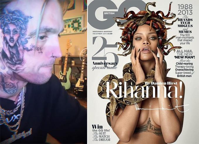 Hình xăm của Aaron Carter và ảnh Rihanna trên trang bìa tạp chí GQ năm 2013.