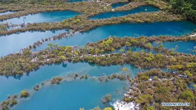 Cửu Trại Câu có 114 hồ lớn nhỏ và hơn 17 thác nước. Khung cảnh nơi đây được ví như tiên giới, nhất là khi vào thu, hàng cây đổi màu vàng, in bóng xuống mặt hồ xanh ngắt và trong veo.