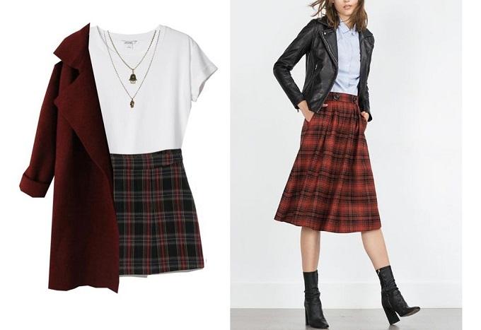 Váy caro là phụ kiện quen thuộc trong tủ quần áo phái đẹp dịp thu - đông, thích hợp phối với áo trơn tối hoặc sáng màu.