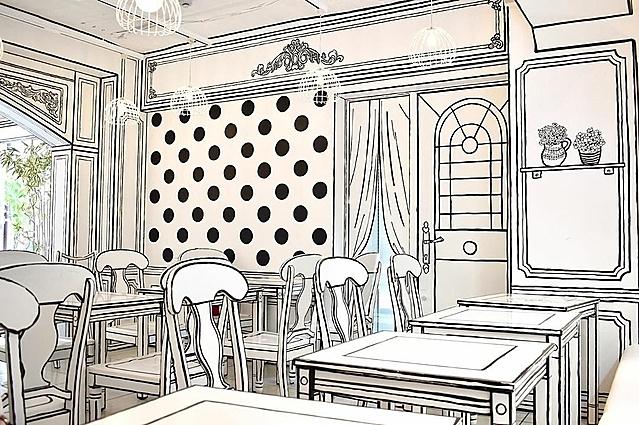 Tuy nhiên, một số chi tiết thực sự là 2D như cửa ra vào, bình hoa, rèm cửa... Chúng là hình vẽ trên tường, nhằm mục đích khiến người xem hoa mắt, không phân biệt được thật giả.