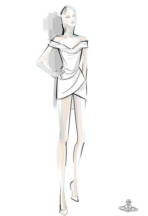 Bản phác thảo mẫu váy trên giấy. Thương hiệu tiết lộ chất liệu làm váy là lụa được sản xuất hữu cơ, thân thiện môi trường, có thành phần sợi tơ bướm - thứ có trong kén khi bướm tách kén chui ra. Chất liệu lụa làm từ sợi tơ bướm. Không chỉ chú trọng về váy, cô dâu còn lưu tâm tới phụ kiện đi kèm.