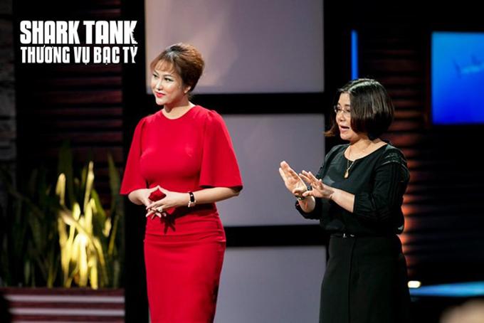 Phi Thanh Vân và Co-founder Kiều Ngoan trình bày về dự án Azlove. Ảnh: Shark Tank Việt Nam.